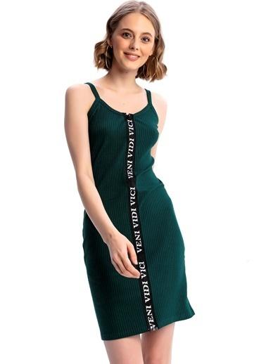 Emjey Boydan Baskılı Fermuarlı Elbise Yeşil